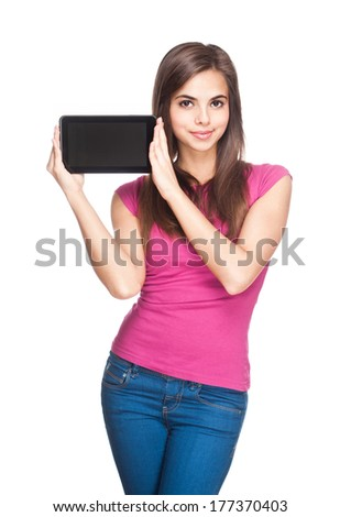 Brunette beauty with tablet computer isolated on white background.