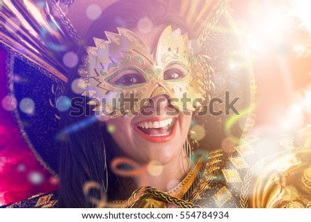 Brunette Brazilian wearing carnival costume
