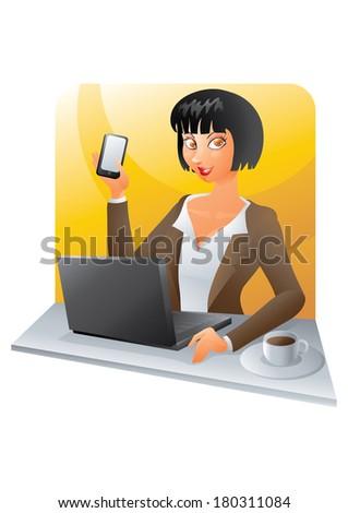 Brunette business woman at desk - stock photo