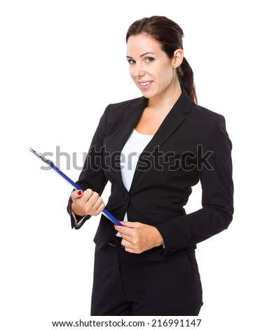 Brunette business woman with clipboard