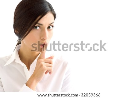 brunette expression on background - stock photo