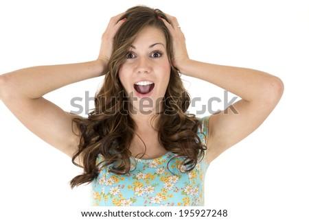 Brunette female model astonished or surprised expression - stock photo