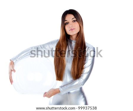 brunette futuristic silver woman holding sphere glass helmet - stock photo