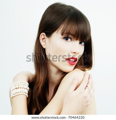 brunette girl glamour portrait - stock photo