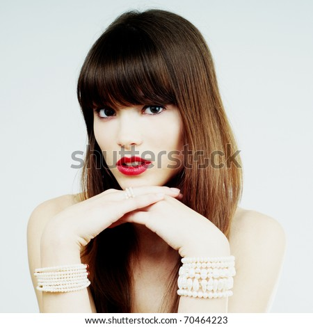 brunette girl glamour portrait - stock photo