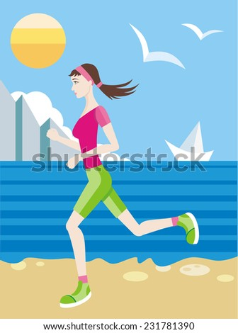Brunette girl in a sports uniform jogging on a beach with gulls and sun on blue sky and ship on the horizon. Raster version  - stock photo
