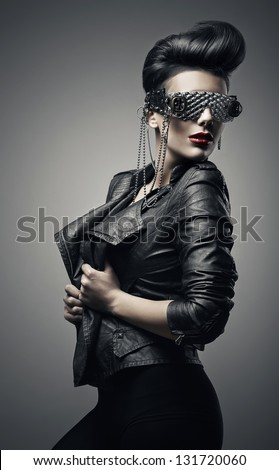 brunette girl in creative sunglasses - stock photo