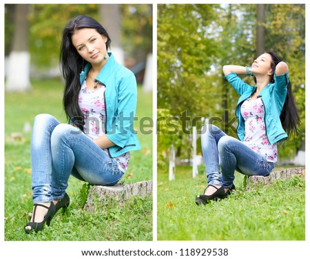 brunette girl sitting on the autumn leaves.collage - stock photo