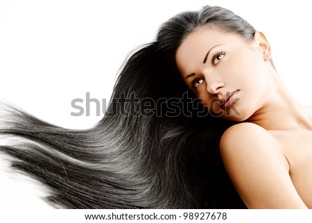 brunette girl with  healthy long shiny hair - stock photo