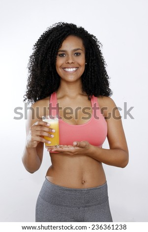 brunette girl with juice orange