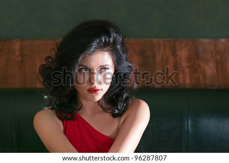 Brunette girl with the luxuriant hair - stock photo
