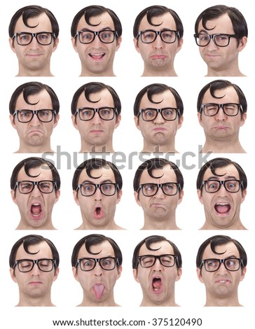 brunette glasses nerd adult caucasian man collection set of face expression like happy, sad, angry, surprise, yawn isolated on white - stock photo
