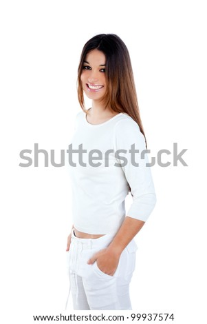 brunette indian woman on white smiling happy isolated studio background - stock photo