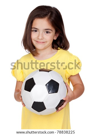 Brunette little girl with a soccer ball isolated on a over white background - stock photo