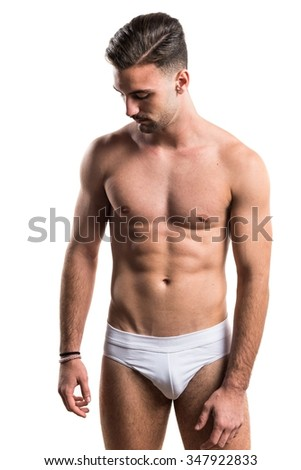 Brunette man in underwear