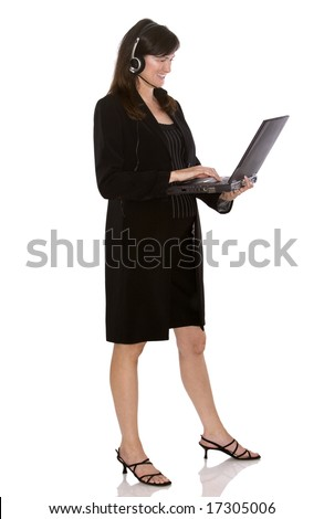 brunette model holding computer on white isolated background