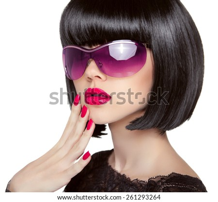 Brunette Model in fashion sunglasses. Beautiful glamour woman with short black hairstyle isolated on white background. - stock photo