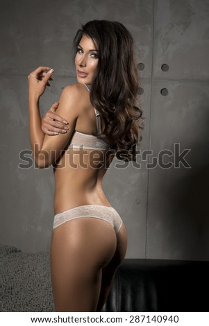 Brunette sexy woman posing in grey lingerie, looking at camera.  - stock photo