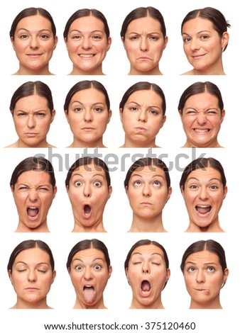 brunette short hair adult caucasian woman collection set of face expression like happy, sad, angry, surprise, yawn isolated on white - stock photo
