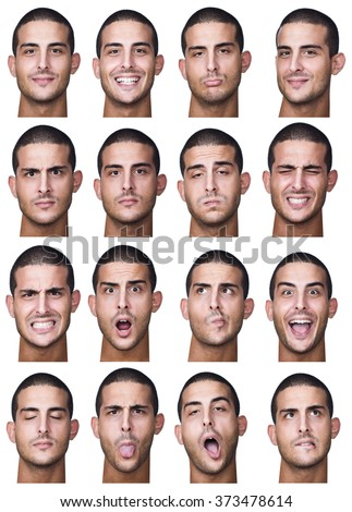 brunette short hair tanned caucasian man collection set of face expression like happy, sad, angry, surprise, yawn isolated on white - stock photo