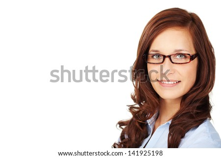Brunette smiling woman with glasses against the white background - stock photo