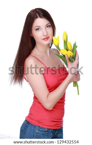 Brunette with a spring flowers on white background
