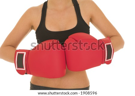 Brunette with red boxing gloves