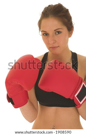 Brunette with red boxing gloves - serious