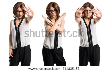 Brunette woman doing NO gesture