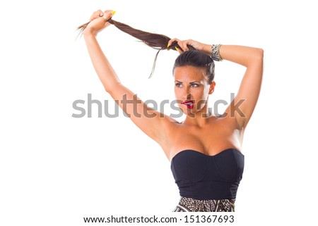 Brunette Woman isolated on White background.