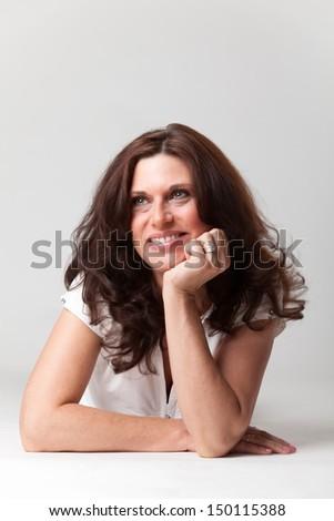 brunette woman on white  - stock photo