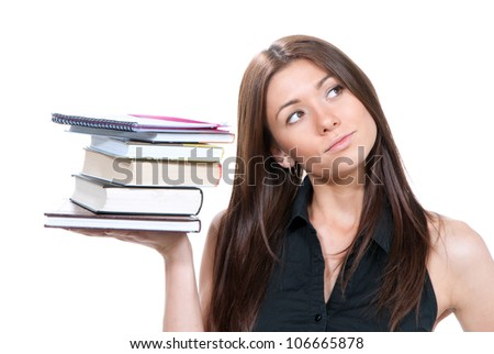 Brunette woman student hold books, textbooks, notebook ,homework study assignment isolated on white background - stock photo