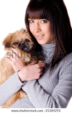 Brunette woman with a cute little pekingese