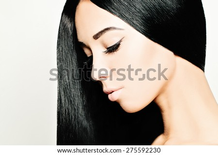 Brunette Woman with Healthy Black Hair - stock photo