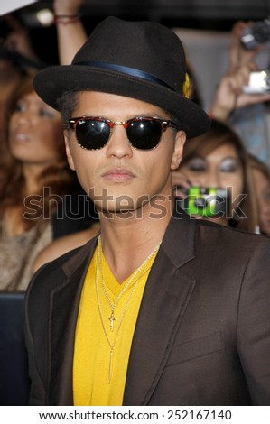"Bruno Mars at the World Premiere of ""The Twilight Saga: Breaking Dawn Part 1"" held at Nokia Theatre L.A. Live in Los Angeles, California, United States on November 14, 2011. - stock photo"