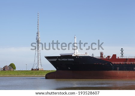 BRUNSBUETTEL, GERMANY - MAY, 17. The bulbous bow of the container vessel Selandia Swan taken in the lockage Brunsbuettel to the Kiel Canal on May 2014, 17.