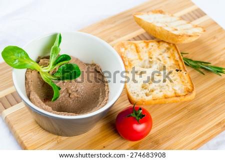 bruschetta on wooden plate - stock photo