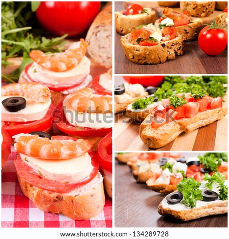 Bruschetta sandwiches with meat,cheese and vegetables - stock photo