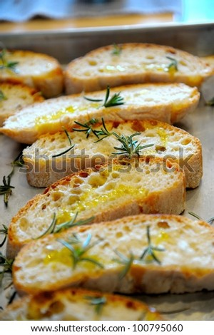 Bruschetta ( typical Italian Toasted Garlic Bread with oil ) - stock photo