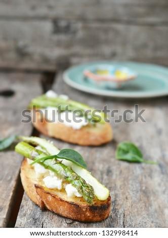 bruschetta with asparagus - stock photo