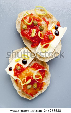 bruschetta with brie cheese  - stock photo