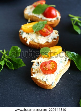 bruschetta with cheese, food close-up - stock photo