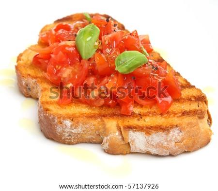 Bruschetta with olive oil - stock photo