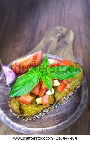 bruschetta with olive oil, basil, tomato and garlic