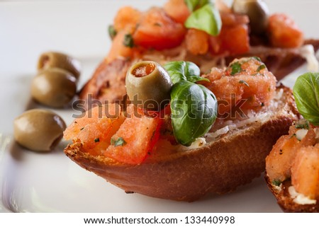 Bruschetta with olive. Selective focus