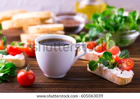 Bruschetta Ricotta Corn Salad Cherry Tomatoes Stock Photo ...