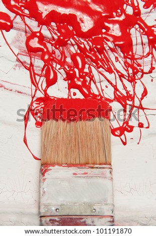 brush and  abstract painting on  a vessels close up - stock photo