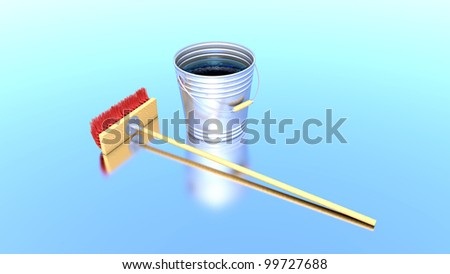 brush and bucket is reflected in a pure smooth surface - stock photo