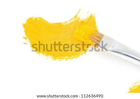 brush and oil paint stroke isolated on white - stock photo