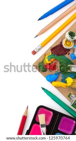 brush and paint  isolated on white background - stock photo